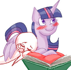 Size: 1045x1029 | Tagged: safe, artist:redanon, twilight sparkle, oc, oc:anon, alicorn, pony, blushing, book, cuddling, cute, female, hug, mare, prone, sleeping, smiling, snuggling, twilight sparkle (alicorn), winghug