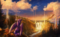 Size: 1600x978 | Tagged: safe, artist:huussii, artist:viwrastupr, twilight sparkle, alicorn, pony, cloud, cloudsdale, cloudy, collaboration, daily deviation, female, looking up, mare, rainbow waterfall, scenery, scenery porn, sitting, solo, spread wings, twilight sparkle (alicorn), waterfall