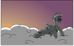 Size: 3273x2018 | Tagged: safe, artist:jessy, artist:plone, oc, oc only, oc:skybreaker, original species, plane pony, pony, back, backlighting, butt, camouflage, cloud, cloudy, colored, mig-25, plane, plot, solo, sultry pose