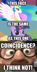 Size: 760x1497 | Tagged: safe, edit, edited screencap, screencap, princess celestia, twilight sparkle, swarm of the century, the return of harmony, coincidence, coincidence i think not, comic, image macro, meme, screencap comic, the incredibles, twiface