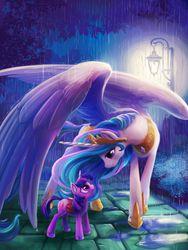 Size: 1200x1600   Tagged: safe, artist:tsaoshin, artist:viwrastupr, princess celestia, twilight sparkle, alicorn, pony, unicorn, collaboration, covering, crown, cute, ear fluff, eye contact, female, filly, filly twilight sparkle, hoof shoes, jewelry, large wings, looking at each other, mare, momlestia, peytral, rain, regalia, smiling, spread wings, twiabetes, unicorn twilight, unshorn fetlocks, wing umbrella