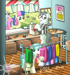 Size: 1930x2045 | Tagged: artist:lars99, bon bon, calendar, cash register, clothes, coco pommel, cocoshill, derpy hooves, female, male, mare, pegasus, pinkie pie, pony, safe, shipping, shop, silver shill, straight, sweetie drops, working