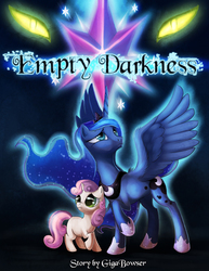 Size: 833x1078 | Tagged: safe, artist:t0xiceye, princess luna, sweetie belle, alicorn, pony, unicorn, aura, blank flank, comic, dark, element of magic, empty darkness, fanfic art, female, filly, frown, glow, glowing eyes, lidded eyes, looking up, mare, raised hoof, sad, scared, shoulder fluff, text, wing fluff