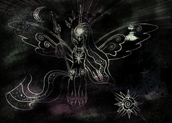 Size: 2285x1649 | Tagged: safe, artist:pedrohander, twilight sparkle, alicorn, pony, black and white, digital art, floating, god, goddess, mixed media, monochrome, neo noir, partial color, psychedelic, solo, spread wings, twilight sparkle (alicorn), universe