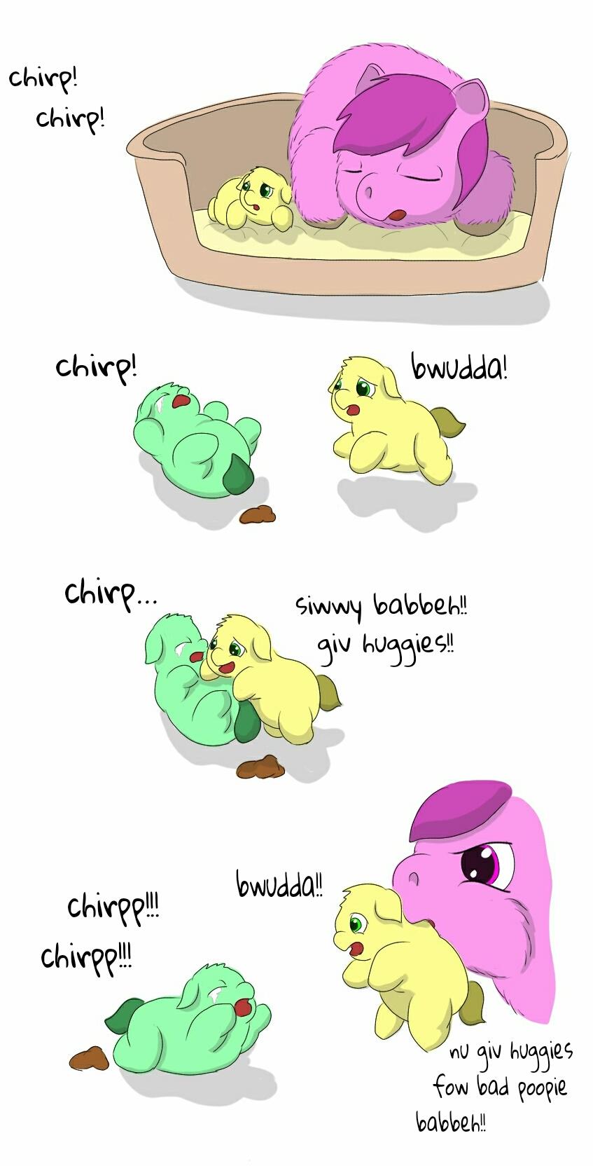 659679 - artist:carpdime, crying, fluffy pony, fluffy pony foals