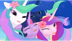 Size: 1920x1080 | Tagged: safe, artist:arareroll, princess cadance, princess celestia, princess luna, twilight sparkle, alicorn, pony, :p, alicorn tetrarchy, bedroom eyes, cute, cutedance, cutelestia, eyes closed, female, flower, flower in hair, licking lips, looking at you, lunabetes, mare, sisters-in-law, smiling, tongue out, twiabetes, twilight sparkle (alicorn), wallpaper, wink