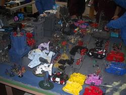 Size: 3648x2736 | Tagged: safe, artist:40kponyguy, big macintosh, cheerilee, cloudchaser, derpy hooves, lyra heartstrings, minuette, octavia melody, princess celestia, queen chrysalis, rainbow dash, spike, trixie, twilight sparkle, earth pony, pony, apocalypse, armor, figurine, gaming miniature, hello kitty, irl, land raider, male, metal bawkses, miniature, photo, power armor, predator tank, rhino tank, sanrio, shadowsword, space marine, stallion, storm raven, storm talon, tank (vehicle), vehicle, vindicator, warhammer (game), warhammer 40k, warhound titan