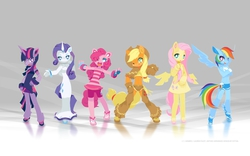 Size: 2560x1600 | Tagged: safe, artist:tysontan, applejack, fluttershy, pinkie pie, rainbow dash, rarity, twilight sparkle, anthro, earth pony, pegasus, unicorn, bracelet, chaps, clothes, cute, female, freckles, looking at you, mane six, one eye closed, open mouth, smiling, wallpaper, wink