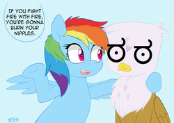 Size: 1050x743 | Tagged: safe, artist:higgly-chan, edit, gilda, rainbow dash, griffon, advice, cr1tikal, frown, look of disapproval, open mouth, smiling, speech bubble, spread wings, underhoof, wat