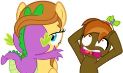 Size: 1600x951 | Tagged: safe, artist:twilightpoint, hundreds of users filter this tag, button mash, spike, oc, oc:cream heart, dragon, earth pony, pony, button's adventures, creamspike, female, kissing, love, male, shipping, straight