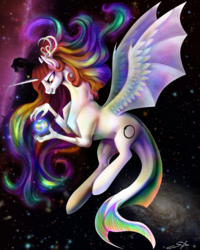 Size: 4000x5000   Tagged: safe, artist:silfoe, oc, oc only, oc:fausticorn, draconequus, merpony, absurd resolution, and that's how equestria was made, antlers, blackest night, blackest night equestria, cosmic giant, creation, emotional spectrum, entity, ethereal mane, fish tail, galaxy, goddess, green lantern, horsehead nebula, hybrid wings, life, macro, origin story, ouroboros, planet, pony bigger than a planet, smiling, solo, space, spread wings, stars, world