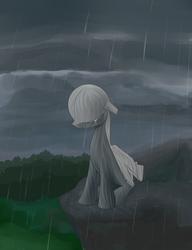 Size: 1000x1304 | Tagged: safe, artist:xn-d, original species, plane pony, pony, predator drone, crying, plane, rain, sad, solo