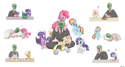 Size: 2000x1082 | Tagged: dead source, safe, artist:mlpanon, applejack, fluttershy, pinkie pie, rainbow dash, rarity, twilight sparkle, oc, oc:anon, earth pony, human, pegasus, pony, unicorn, :t, angry, babysitting, book, bow, clothes, colored pupils, confused, cuddling, cute, embarrassed, eyes closed, face doodle, female, filly, floppy ears, flying, frown, glare, grin, levitation, lucky bastard, magic, male, mane six, marker, meat, messy mane, mouth hold, music notes, open mouth, orange, petting, pinkie pie riding anon, ponies riding humans, pony hat, prank, prone, question mark, raised eyebrow, raised hoof, reading, riding, scrunchy face, simple background, sitting, sleeping, smiling, snuggling, spread wings, sweat, telekinesis, tired, wall of tags, white background, zzz