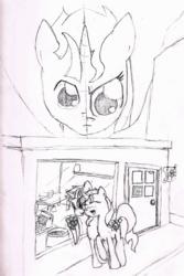 Size: 800x1200 | Tagged: safe, artist:violo, sunset shimmer, twilight sparkle, pony, dusk shine, duskshimmer, female, flower, half r63 shipping, male, monochrome, rule 63, shipping, straight, sunsetsparkle, traditional art