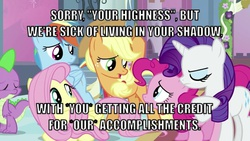 Size: 1132x637 | Tagged: safe, applejack, fluttershy, pinkie pie, rainbow dash, rarity, spike, image macro, meme, op is a duck, op is trying to start shit
