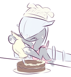 Size: 1225x1327 | Tagged: safe, artist:nobody, oc, oc only, original species, plane pony, pony, predator drone, apron, cake, chef's hat, clothes, cooking, food, hat, plane, solo