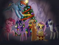 Size: 3255x2500 | Tagged: safe, artist:abovespace, angel bunny, applejack, fluttershy, pinkie pie, rainbow dash, rarity, twilight sparkle, alicorn, pony, christmas, christmas tree, female, holiday, mane six, mare, present, tree, twilight sparkle (alicorn)