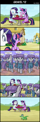 Size: 800x2447 | Tagged: safe, artist:uotapo, gummy, maud pie, rarity, twilight sparkle, alicorn, pony, comic:gravel, too many pinkie pies, clone, comic, eating, female, food, hay burger, hilarious in hindsight, horrified, mare, multeity, open mouth, rock, scene parody, shocked, shrunken pupils, sweat, sweatdrop, table, that pony sure does love rocks, too many maud pies, too much gray energy is dangerous, twilight burgkle, twilight sparkle (alicorn), wide eyes, xk-class end-of-the-world scenario
