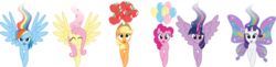 Size: 9094x2211 | Tagged: safe, artist:benybing, applejack, fluttershy, pinkie pie, rainbow dash, rarity, twilight sparkle, alicorn, pony, artificial wings, augmented, balloon, butterfly wings, female, glimmer wings, magic, magic wings, mane six, mare, sparkly wings, twilight sparkle (alicorn), wings
