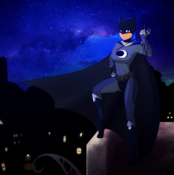 Size: 1591x1600 | Tagged: source needed, useless source url, safe, artist:scorpdk, princess luna, human, batman, bodysuit, cosplay, dc comics, female, gotham city, grappling hook, humanized, i am the night, looking at you, night, sky, smiling, solo, stars