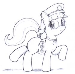 Size: 2668x2602 | Tagged: safe, artist:an-tonio, tag-a-long, filly guides, filly scouts, girl scout, monochrome, solo, thin mint, traditional art