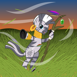 Size: 2900x2900 | Tagged: artist:cheezedoodle96, druid, dungeons and dragons, safe, solo, staff, sunset, vector, wind, zebra, zecora