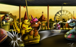Size: 1300x814 | Tagged: safe, artist:jamescorck, berry punch, berryshine, derpy hooves, flam, pokey pierce, oc, oc:star sparkler, oc:ticket, pegasus, pony, female, mare, ticketsparkler