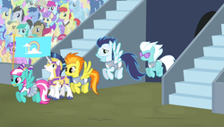 Size: 1266x720 | Tagged: safe, screencap, amethyst star, blues, crystal arrow, crystal beau, daisy, dizzy twister, doctor whooves, don neigh, fleetfoot, flower wishes, fruit pack, goldengrape, happy khaki, ivory, ivory rook, lemon hearts, lucky clover, minuette, night knight, noteworthy, orange swirl, roseluck, ruby splash, shining armor, sir colton vines iii, soarin', sparkler, spitfire, spring melody, spring step, sprinkle medley, sunlight spring, time turner, trail blazer, crystal pony, pony, equestria games (episode), background pony, equestria games, flying, sunglasses, unnamed pony, wonderbolts