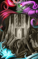 Size: 4400x6800 | Tagged: safe, artist:blindcoyote, king sombra, crystal pony, pony, absurd resolution, chains, crystal heart, glowing eyes, monochrome, neo noir, partial color, slavery