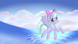 Size: 1920x1080 | Tagged: safe, artist:kawaiipony2, flitter, flying, looking at you, sky, solo, spread wings