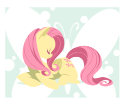 Size: 3429x3000 | Tagged: safe, artist:umbravivens, artist:yoh yoshinari, fluttershy, butterfly, pegasus, pony, cute, cutie mark, eyes closed, female, high res, hooves, lineless, mare, minimalist, prone, simple background, solo, transparent background, vector, wings