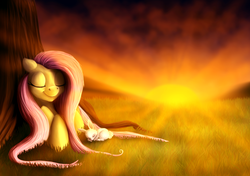 Size: 1700x1200 | Tagged: safe, artist:rinnsa, angel bunny, fluttershy, duo, eyes closed, grass, lying, lying down, sleeping, smiling, sunset, tree, under the tree