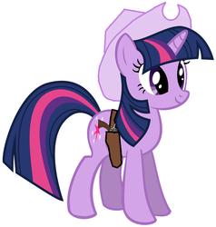 Size: 756x794 | Tagged: safe, artist:rainbow-dash-2014, twilight sparkle, cowboy hat, gun, hat, holster, revolver, solo, stetson, weapon