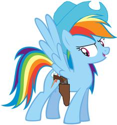 Size: 904x964 | Tagged: safe, artist:rainbow-dash-2014, rainbow dash, gun, hat, holster, revolver, solo, weapon