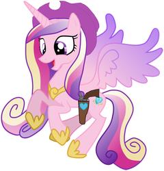Size: 1144x1194 | Tagged: safe, artist:rainbow-dash-2014, princess cadance, gun, hat, holster, revolver, solo, weapon