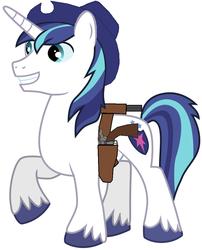 Size: 826x1020 | Tagged: safe, artist:rainbow-dash-2014, shining armor, gun, holster, revolver, solo, weapon