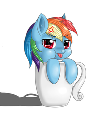 Size: 800x923 | Tagged: dead source, safe, artist:iluvhalo, rainbow dash, pony, cup, cup of pony, cute, dashabetes, female, heart eyes, mare, micro, mug, puffy cheeks, raspberry, simple background, solo, tongue out, white background, wingding eyes