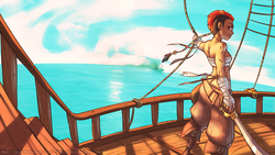 Size: 1280x720 | Tagged: safe, artist:atryl, rainbow dash, human, alternate hairstyle, bandage, braid, breast binding, buttcrack, female, hand wraps, humanized, looking at you, looking back, pirate, pirate dash, quest for harmony, sarashi, ship, smiling, solo, sword, wallpaper, weapon