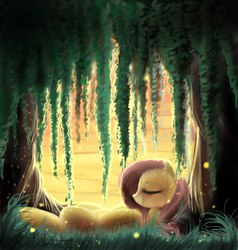 Size: 1143x1200 | Tagged: safe, artist:yukomaussi, fluttershy, firefly (insect), eyes closed, female, grass, lying, on back, sleeping, solo, sunset, tree, under the tree