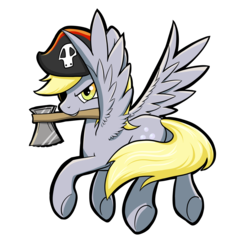 Size: 2497x2473 | Tagged: safe, artist:enati-ora, derpy hooves, pegasus, pony, axe, female, hat, mare, mouth hold, pirate, pirate derpy, pirate hat, plot, solo