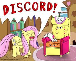 Size: 3000x2400 | Tagged: safe, artist:halflingpony, angel bunny, apple bloom, fluttershy, scootaloo, sweetie belle, angry, armchair, chair, chair transformation, cutie mark crusaders, flutterrage, i have no mouth and i must scream, implied discord, inanimate tf, objectification, transformation, yelling