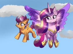 Size: 800x600 | Tagged: safe, artist:strawberry-pannycake, princess cadance, scootaloo, cloud, cloudy, fluffy, scootaloo can fly, sky