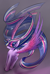 Size: 1181x1748 | Tagged: safe, artist:underpable, twilight sparkle, alicorn, pony, bedroom eyes, curved horn, female, long mane, long tail, looking at you, mare, rainbow power, simple background, smiling, solo, spread wings, twilight sparkle (alicorn), windswept mane