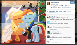 Size: 884x525 | Tagged: safe, artist:sketchyjackie, applejack, rainbow dash, earth pony, pegasus, pony, appledash, ashleigh ball, bracelet, clothes, dress, eyes closed, female, gay pride, heart, holding hooves, instagram, kissing, lesbian, mare, pride, shipping, shipping war in the comments, signature, smiling, text, windows, windows 7