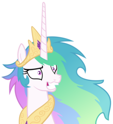 Size: 5500x6000 | Tagged: safe, artist:magister39, princess celestia, pony, absurd resolution, female, grin, insanity, mare, messy mane, simple background, smiling, snaplestia, solo, transparent background, vector, wide eyes
