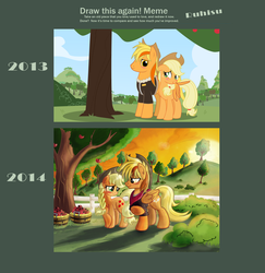 Size: 1434x1473 | Tagged: alternate hairstyle, apple, applejack, artist progress, artist:ruhisu, blushing, braid, bucket, canon x oc, clothes, couple, cowboy hat, draw this again, evening, hat, jacket, male, meme, nervous, oc, oc:brave wing, orchard, pegasus, pony, raised hoof, redraw, safe, self insert, shipping, shy, smiling, stallion, stetson, sunset, sweet apple acres, tree