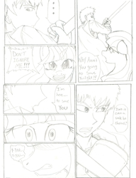 Size: 2479x3229 | Tagged: safe, artist:tehmangabrony, oc, oc only, angry, biting, comic, dialogue, manga, monochrome, protecting, shaking, shocked, sketch, yelling