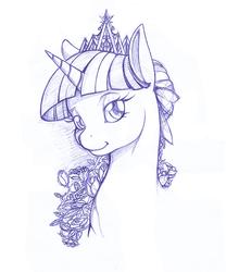 Size: 859x1033 | Tagged: safe, artist:longinius, twilight sparkle, alicorn, pony, crown, female, flower, mare, monochrome, new crown, portrait, solo, traditional art, twilight sparkle (alicorn)