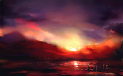 Size: 7086x4411 | Tagged: dead source, safe, artist:tiger-type, applejack, fluttershy, pinkie pie, rainbow dash, rarity, twilight sparkle, earth pony, pegasus, pony, unicorn, absurd resolution, cloud, cloudy, female, mane six, mare, night, night sky, reflection, scenery, scenery porn, sky, smoke, stars, sun, sunset, unicorn twilight, water