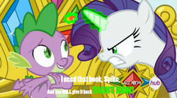 Size: 1449x808 | Tagged: bibliovore, corrupted, edit, edited screencap, hub logo, image macro, inspirarity, inspiration manifestation, laxative, meme, possessed, rarity, safe, screencap, spike